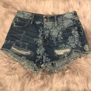 Sz 24 Free People High Waist Floral Denim Shorts